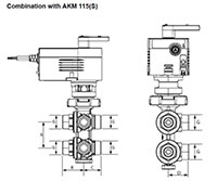 6-Way Ball Valve, PN16 - Dimensional Drawing