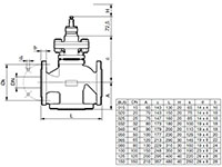 3-Way Flanged Valve, PN40 (el.) - BUS - Dimensional Drawing